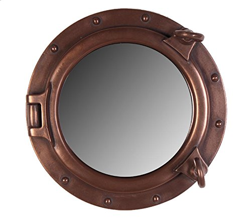 Nautical Tropical Imports Porthole Mirror Wall Mount Bronze Finish 12 - Bathroom Mirrors Hull