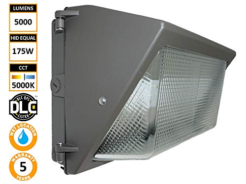 Pack - 5000 Lumens - 175W MH Equal - 5000K - Diva Light TWP-45WU50K-D10 (45) Outdoor Area Wall Lighting Commercial Building HID/HPS/MH Replacement ()