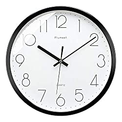 Plumeet 12 Inches Modern Quartz Wall Clock, Silent Non Ticking, Battery Operated, Round,Black