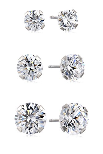 10K White Gold Three Stud Earrings set with Round Cut Swarovski Zirconia (3.5 cttw) 10k Gold Set
