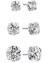 10kt White Gold Three Stud Earrings set with Round Cut Swarovski Zirconia (3.5cttw) - New