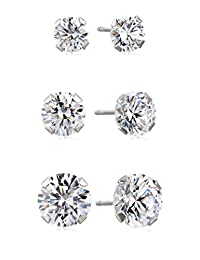 10k White Gold Swarovski Zirconia Stud Earrings Three-Pair Set (3.5 cttw)