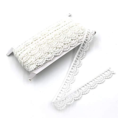 White Crocheted Lace - ELLA MAMA Crocheted Lace Trim DIY Craft Ribbon 1/2'' x 10 yds, Scallop Edge