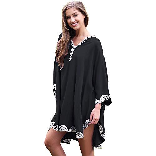 QBSM Women's Swimsuit Bikini Swimwear Cover Ups Beach Dress Bat-Wing Sleeves Swim Wear Bathing Suit Pool Coverup Black ()