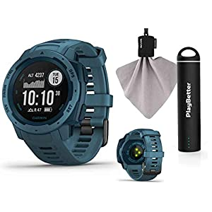 Garmin Instinct (Lakeside Blue) Outdoor GPS Watch Power Bundle | with HD Screen Protector Film Pack & PlayBetter Portable Charger | Rugged, Waterproof | Heart Rate, TrackBack | Ultimate Outdoorsman Wa