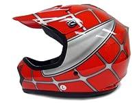Youth Child Kids Red Spider Net Dirt Bike Motocross MX Dirt Bike ATV Off-Road Helmet DOT (Large) by T-Motorsports