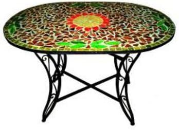 Vette mesa hierro ovalado C/Mosaico 120 X 80/xh72 cm: Amazon.es ...