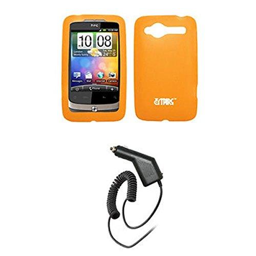 EMPIRE Orange Silicone Skin Cover Case Tasche Hülle + Auto Charger (CLA) for Alltel HTC Wildfire CDMA