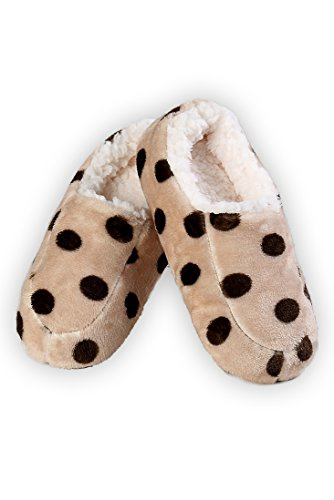 Iconoflash Kvinners Polka Dot Slip-on Stil Tøfler Med Faux Shearling Fôr  Brun