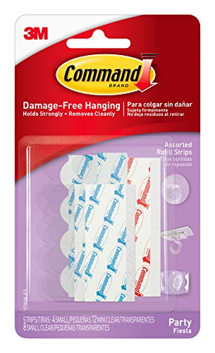 Command Party Assorted Refill Strips, 12-Mini Clear Strips, 8-Small Clear Strips and 4-Small Foam Strips (17808-ES)