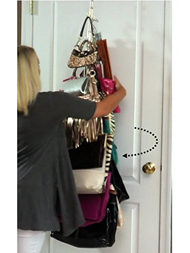 Boottique Over Door Hanging Purse Storage – DURABLE, Holds 50 POUNDS, ROTATES 360 for easy access; Purses, Handbags, Satchels, Crossovers, Backpacks,12 Hooks, Chrome