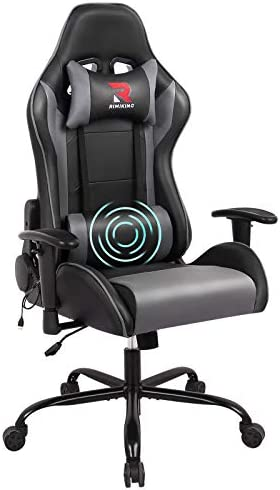 RIMIKING Massage Gaming Chair-Ergonomic PU Leather Racing Computer Desk Office Chair, 360°Swivel, Adjustable Armrest Lumbar Support Soft Headrest (Grey)