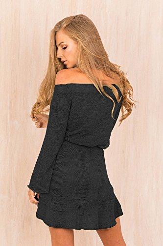 Delle Lunghi Vestito Eleganti Fuori Zhaoyun Della Di Corto Dal Maglione Nero Invernale Modo Signore Spalla Donna Manicotti Casuale g0qqOt4wp