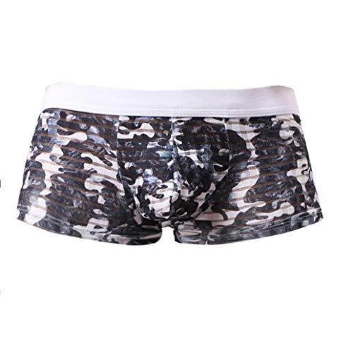 Boxer En Nylon Binggong Pochette Doux Underwear Sexy Camouflage Cosy Gris Homme Caleçon Translucide Men Z4F5xqwz