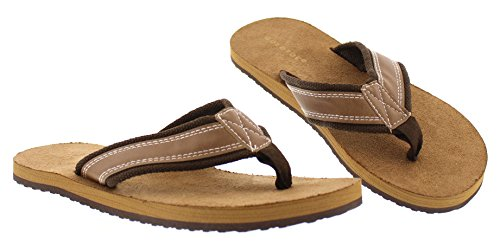 Gold Toe Mens Faux Leather and Denim Lightweight Thong Flip-Flops, Indoor Outdoor Open Toe Beach Sandal Tan
