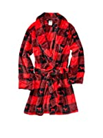 Victoria's Secret Pink Robe Plaid Red & Black Dog Logo
