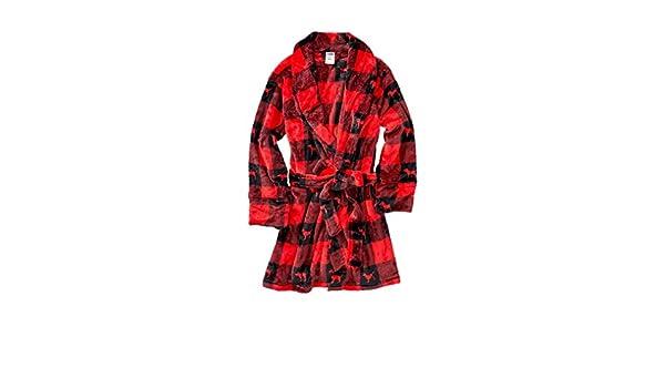 Victoria s Secret Pink Robe Plaid Red   Black Dog Logo at Amazon Women s  Clothing store  b7f2a64b6