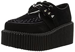 Demonia CRE206/BVS-VL Women's Fashion Sneaker, Black Vegan Suede, 6 M US