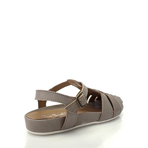 8100 Melrose Leather Fisherman Sandal On Wedge Heel Taupe KKsSQs