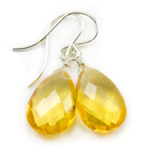 Cut Faceted Pear (Sterling Silver Simulated Citrine Earrings Yellow Faceted Pear Teardrop Simple Briolette)