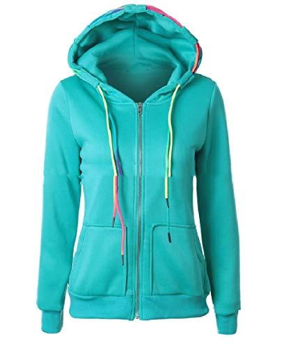 Howme-Women Sweatshirt Relaxed Hoodie Casual Pocket Tops Outwear Jacket Green