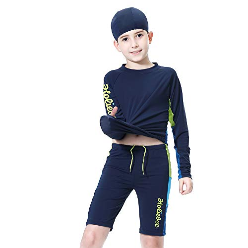 (Kids Boys Swimsuits UPF50+UV Swimwear Set Two Piece Rash Guard with hat for 4-12 Years (Navy-New, 100cm(4T)))