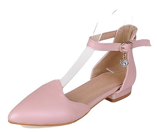 Odomolor Women's Low-Heels Solid Buckle PU Pointed-Toe Pumps-Shoes, Pink, 38