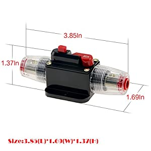 KUMEED 12V DC 20A 30A 40A 50A 60A 80A Car Audio Inline Circuit Breaker Fuse for System Protection (80A)