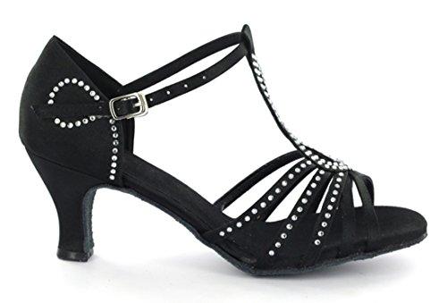 Tda Womens T-strap Fibbia Moda Cristalli Raso Salsa Tango Ballroom Latino Moderno Danza Scarpe Da Sposa 6 Cm Nero
