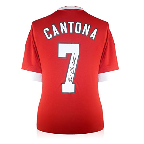 (Eric Cantona Back Signed Manchester United Home Soccer Jersey | Autographed Memorabilia)