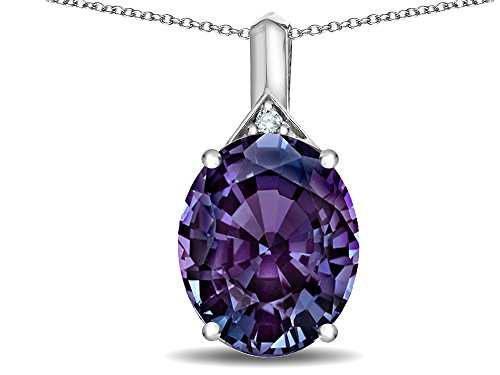 Slide Alexandrite (Star K Expressions Large 12x10mm Oval Simulated Alexandrite Pendant Necklace 14 kt White Gold)