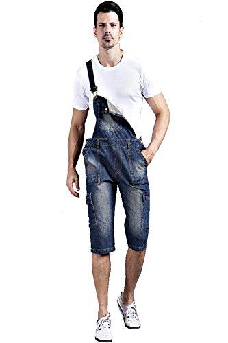 Denim Men's Plus Size Pockets Short Bib Overalls Size 38