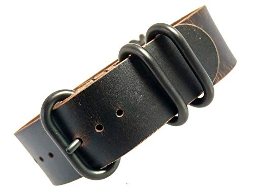 time+ 22mm 5-Ring NATO Zulu Oil Leather Military Watch Strap Black Brown PVD