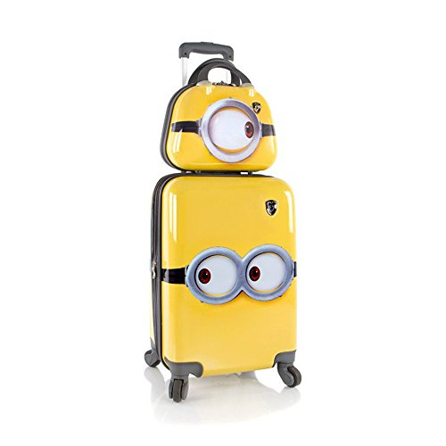 heys-minions-2-pc-kids-eye-catching-designed-glossy-yellow-hard-shell-expandable-spinner-wheels-trav