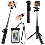 Wireless Bluetooth Selfie Stick Tripod, Satkago Extendable Selfie Stick Tripod with Bluetooth Wireless Remote and Waterproof Case for iPhone X/8/8P/7/7P/6S/6P/5S/SE Galaxy S9/S9 Plus/S8/S8 Plus/S7/Note 8/S6/S5 Gopro