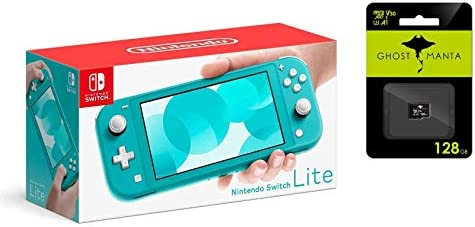 "Newest Nintendo Switch Lite Game Console, 5.5"" LCD Touchscreen Display, Built-in Plus Control Pad, W/Hesvap 128GB Micro SD Card, Built-in Speakers, 3.5mm Audio Jack (Turquoise Blue)"