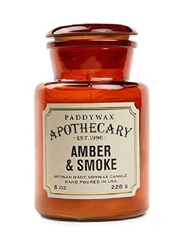 Paddywax Candles Apothecary Collection Soy Wax Blend Candle in Glass Jar Medium, 8 Ounce Amber & Smoke