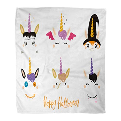 Emvency Flannel Throw Blanket Halloween Cute Unicorn Faces Witch Vampire Zombie Frankenstein Devil Flat for Children Party 50x60 Inch Lightweight Cozy Plush Fluffy Warm Fuzzy -