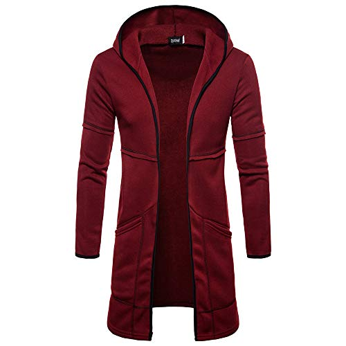 Cotton Blend Trench Coat - MODOQO Men's Hoodies, Long Trench Coat Casual Cardigan Jacket Outwear Autumn (Wine Red,2XL)