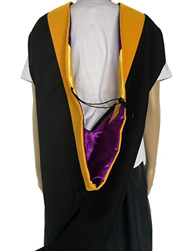 Master Yellow Gold - Cappe Diem Master's Graduation Hood GOLDEN YELLOW: Master of Science (M.S.) in Physics, Mathematics, Criminology, Environmental Science (Various College Colors) (Purple & Gold)