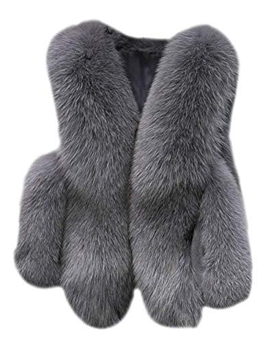 Grazioso Donna Eleganti Cappotto Lunga Giacche Termico Confortevole Ecopelliccia Autunno Calda Di Manica Pelliccia Grau Con Giacca Invernali Giovane Tasche Outerwear Moda AIwpAx