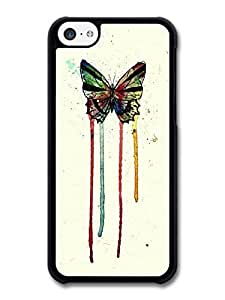 AMAF ? Accessories Butterfly Watercolour Insect Red Blue Green Yellow Art case for iPhone 5C