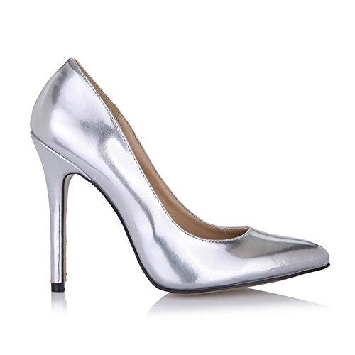 Zapatos alto zapatos la femenina negra plateado Zapatos tacón y Haga los de mujer Perla grande en de sexy clic Espejo oficina con punta en SvWxtqwfF1