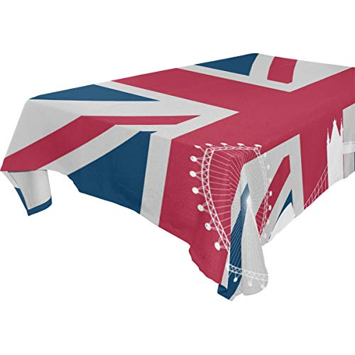 Nanmma London Flag Skyline Print Table Covers Tablecloth in Washable Polyester - Great for Catering Events, Dinner Parties, Special Occasions,Seasonal Décor, Wedding & More -