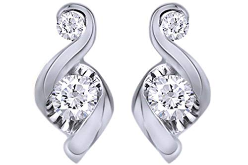 1/4 Carat Round White Natural Diamond Swirl Stud Earrings in 14K White Gold (0.25 Cttw)