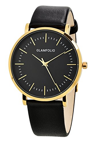 black and gold men s watch amazon com dovoda mens gold tone watches quartz black calf leather waterproof wrist watch