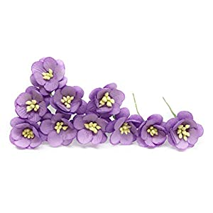 "1"" Purple Cherry Blossom Flower Artificial Flowers Paper Flowers Synthetic Flowers Fake Flowers Paper Craft Flowers Mulberry Paper Flowers Wedding, 25 Pieces 7"