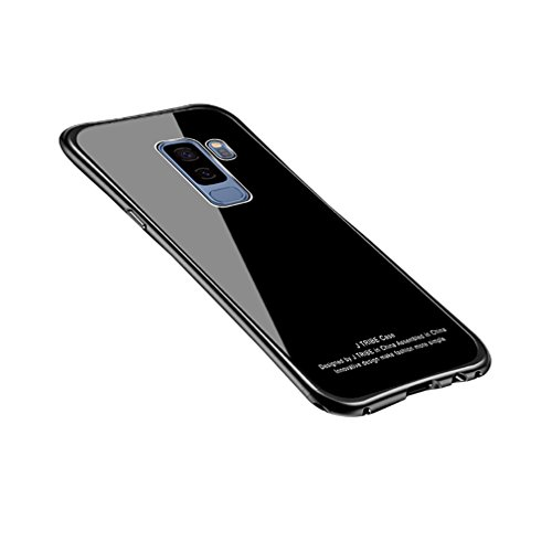 Price comparison product image ANERNAI Galaxy S9 Metal Frame + Tempered Glass Back Ultra Thin Shockproof Cover for Samsung Galaxy S9 (Black)