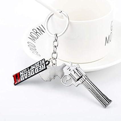 Red Dead 2 Redemption Keychain Revolver Gun Toy Model Metal Key Ring llaveros Car Bag Key Chain Chaveiro Jewelry (01)