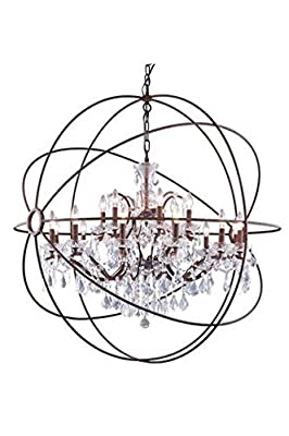 "Metro Rustic Iron Modern 18-Light Grand Chandelier Heirloom Handcut Crystal in Crystal (Clear)-800G43RI-RC--43.5"" W/D"